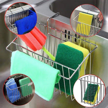 Load image into Gallery viewer, Explore hjkk sponge holder for kitchen sink rust proof 304 stainless steel basket storage holder sink organizer for sponge brush soap towel dish cloth dishwashing liquid and more in sink sponge holder