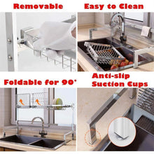 Load image into Gallery viewer, Discover the best cabina home dish drying rack over the sink stainless steel large dish rack stand drainer for kitchen supplies counter top storage shelf utensils holder silver for double sink