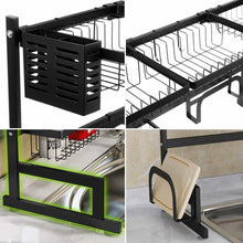 Load image into Gallery viewer, Try ipegtop over the sink stainless steel dish drying rack large dish drainers for kitchen double sink dishes utensils glasses draining shelf storage counter organizer cutlery holder black