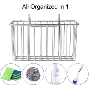 Storage organizer aceen kitchen sink sponge holder 304 stainless steel sink caddy organizer liquid drainer storage basket for sponge soap brush dishwashing accessories