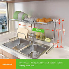 Load image into Gallery viewer, Great shelf liners kitchen shelf stainless steel dish rack sink rack kitchen homeware storage rack pool shelf dish rack storage organization color silver size 8049cm