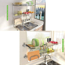 Load image into Gallery viewer, New shelf liners kitchen shelf stainless steel dish rack sink rack kitchen homeware storage rack pool shelf dish rack storage organization color silver size 8049cm