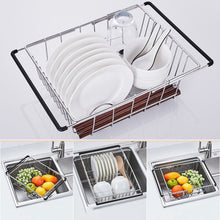 Load image into Gallery viewer, Top rated yc electronics retractable stainless steel kitchen shelf vegetables basin dish rack fruit vegetable basket drain basket kitchen sink