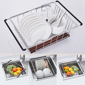 Top rated yc electronics retractable stainless steel kitchen shelf vegetables basin dish rack fruit vegetable basket drain basket kitchen sink