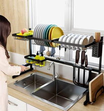 Load image into Gallery viewer, Featured dish drainer rack holder black stainless steel kitchen rack sink sink dish rack drain bowl rack dish rack kitchen supplies storage rack 95cm