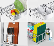 Load image into Gallery viewer, Shop dish drainer rack holder 304 stainless steel kitchen racks pool drying dishes dishes storage supplies dish rack sink drain rack