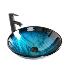 Load image into Gallery viewer, Storage 24 inch bathroom vanity modern stand pedestal cabinet wood black fixture with mirror ocean blue tempered glass sink top with single faucet hole
