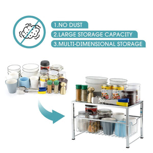New bextsware cabinet basket organizer with wire grid sliding drawer multi function stackable mesh storage organizer for kitchen counter desktop under sinksilver