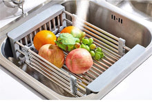 Load image into Gallery viewer, Discover the best lxjymxkitchen storage rack multi function rack stainless steel sink single row frame telescopic drain basket dish drain rack grey