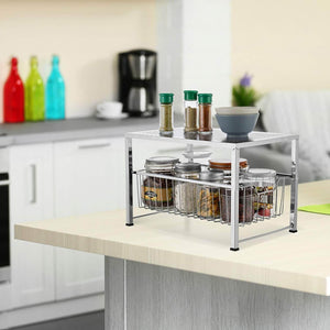 Heavy duty bextsware cabinet basket organizer with wire grid sliding drawer multi function stackable mesh storage organizer for kitchen counter desktop under sinksilver
