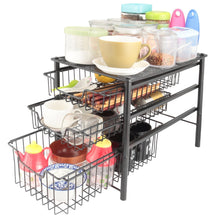 Load image into Gallery viewer, Cheap 3s sliding basket organizer drawer cabinet storage drawers under bathroom kitchen sink organizer tier black