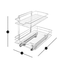 Load image into Gallery viewer, Select nice smart design 2 tier roll out under sink sliding organizer w mounting hardware medium steel metal holds 100 lbs cabinets cookware bakeware items kitchen 18 32 x 14 inch chrome