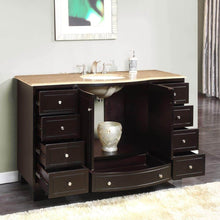 Load image into Gallery viewer, Results silkroad exclusive hyp 0703 t uwc 55 travertine top single white sink bathroom vanity with espresso cabinet 55 dark wood