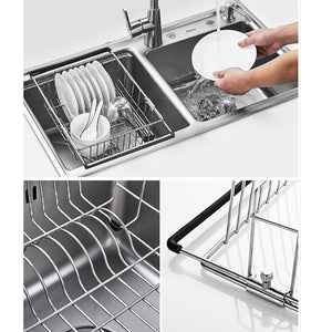 Best yc electronics retractable stainless steel kitchen shelf vegetables basin dish rack fruit vegetable basket drain basket kitchen sink