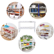 Load image into Gallery viewer, Buy now 2 tier kitchen shelf organizers rack meoket classic korean style adjustable bathroom cabinet shelf organizer stainless steel storage rack expandable under sink organizer white us stock
