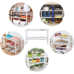Buy now 2 tier kitchen shelf organizers rack meoket classic korean style adjustable bathroom cabinet shelf organizer stainless steel storage rack expandable under sink organizer white us stock
