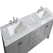 Load image into Gallery viewer, Save on eviva evvn412 72gr aberdeen 72 transitional grey bathroom vanity with white carrera countertop double square sinks combination
