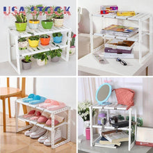 Load image into Gallery viewer, Order now unishopping stainless steel plastic 2 tier expandable under sink organizer shelf adjustable kitchen storage rack 15 35 26 x 10 24 x 14 96 set 2 pack