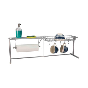 Buy home basics over the sink stainless steel kitchen station dish rack paper towel dispenser organizer