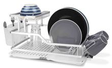 Load image into Gallery viewer, Budget home basics dd44560 2 tier aluminum dish drying storage rack with utensil holder cup holder draining tray for kitchen countertop sink