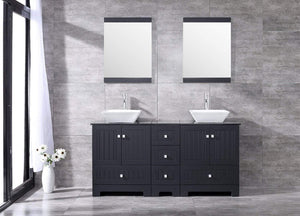 Order now sliverylake 60 bathroom vanity and sink combo bathroom cabinet black countertop sink bowl w mirror set ceramic vessel black trapeziform