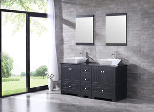 On amazon sliverylake 60 bathroom vanity and sink combo bathroom cabinet black countertop sink bowl w mirror set ceramic vessel black trapeziform