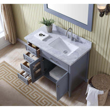 Load image into Gallery viewer, Shop ariel d043s r gry kensington 43 inch right offset single sink bathroom vanity set in grey with carrara marble countertop
