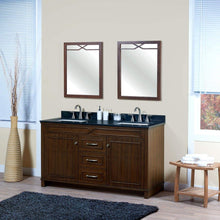 Load image into Gallery viewer, Kitchen maykke abigail 60 bathroom vanity set in birch wood american walnut finish double brown cabinet with countertop backsplash in black granite and ceramic undermount sink in white ysa1376001