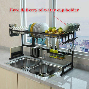 Get dish drainer rack holder black stainless steel kitchen rack sink sink dish rack drain bowl rack dish rack kitchen supplies storage rack 95cm