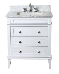 Products kitchen bath collection kbc l30wtcarr eleanor bathroom vanity with marble countertop cabinet with soft close function undermount ceramic sink 30 carrara white