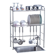 Load image into Gallery viewer, Featured delite home 2 tier stainless steel over sink dish drying rack counter top dish rack dish shelf dish collector silver single groove