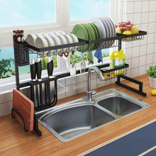 Load image into Gallery viewer, Kitchen over the sink dish drying rack 2 tier large 18 8 stainless steel drainer display shelf kitchen supplies storage accessories countertop space saver stand tableware organizer with utensil holder