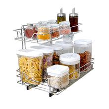 Load image into Gallery viewer, Purchase smart design 2 tier roll out under sink sliding organizer w mounting hardware medium steel metal holds 100 lbs cabinets cookware bakeware items kitchen 18 32 x 14 inch chrome