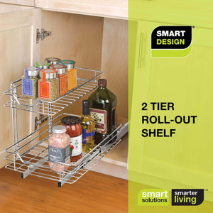 Related smart design 2 tier roll out under sink sliding organizer w mounting hardware medium steel metal holds 100 lbs cabinets cookware bakeware items kitchen 18 32 x 14 inch chrome