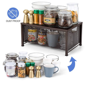 Online shopping bextsware stackable multi function under sink cabinet sliding basket organizer drawer extra large capacity space saving bronze
