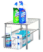 Load image into Gallery viewer, Organize with decobros stackable under sink cabinet sliding basket organizer drawer chrome