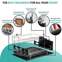 Load image into Gallery viewer, Best seller  customizable two tier dish rack stainless steel professional drainer for counter or over the sink with drain board microfiber mat dispensing dish brush includes 2 free e books and mobile stand