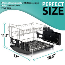 Load image into Gallery viewer, Best customizable two tier dish rack stainless steel professional drainer for counter or over the sink with drain board microfiber mat dispensing dish brush includes 2 free e books and mobile stand