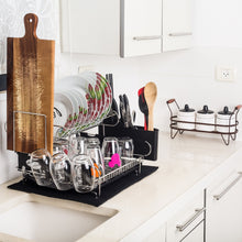 Load image into Gallery viewer, Top customizable two tier dish rack stainless steel professional drainer for counter or over the sink with drain board microfiber mat dispensing dish brush includes 2 free e books and mobile stand