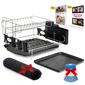 Top rated customizable two tier dish rack stainless steel professional drainer for counter or over the sink with drain board microfiber mat dispensing dish brush includes 2 free e books and mobile stand