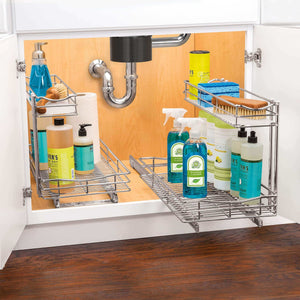 Discover the lynk professional professional sink cabinet organizer with pull out out two tier sliding shelf 11 5w x 21d x 14h inch chrome