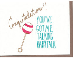 The Great Lakes Goods Baby Talk Rattle Card