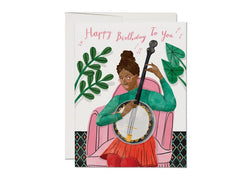 Red Cap Cards Banjo Birthday Card