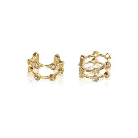 Luv AJ Pave Hex Ear Cuff in Gold
