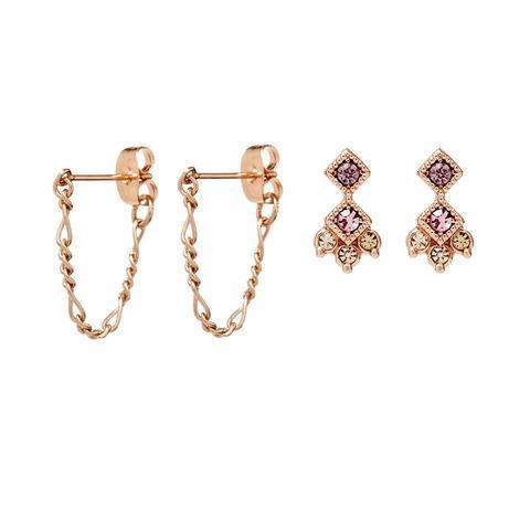 Luv AJ Ombre Flora Studs Set in Rose Gold