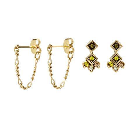 Luv AJ Flora Studs Set in Gold