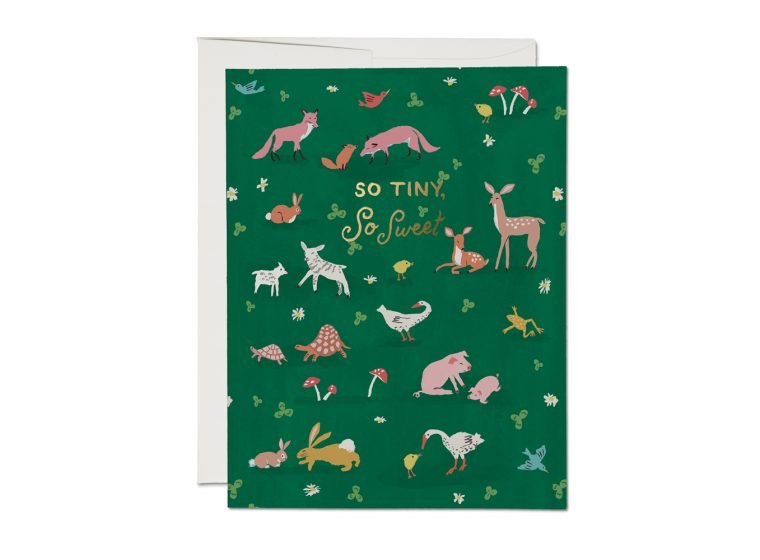 Red Cap Cards Tiny Animals Foil Baby Card