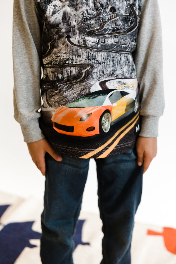 Molo Risci Long Sleeve T Shirt in Patchwork Cars