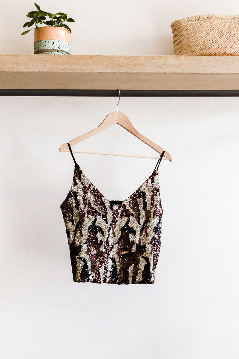 Le Superbe A la Carte Sequin Cami in Andy Gold Camo