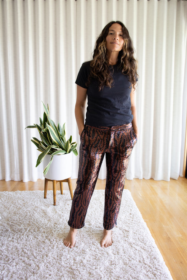 Sequin Tiger Stripe Le Superbe Pant